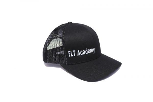 FLT Academy hat. Black front with black back.