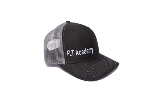 FLT Academy hat. Black front with gray back.