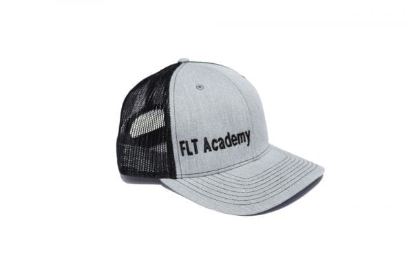 FLT Academy hat. Gray front with black back.