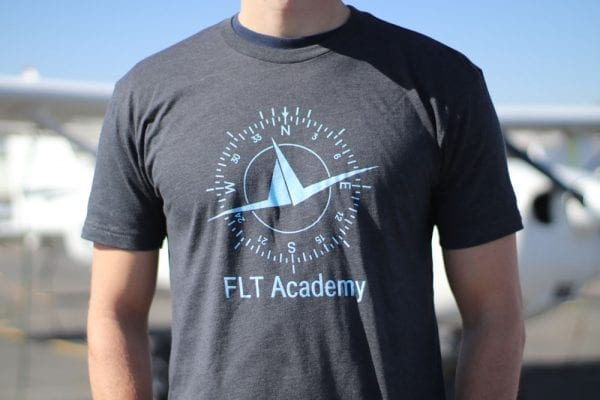 FLT Academy charcoal shirt with logo and compass