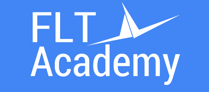 FLT logo with wings on blue background