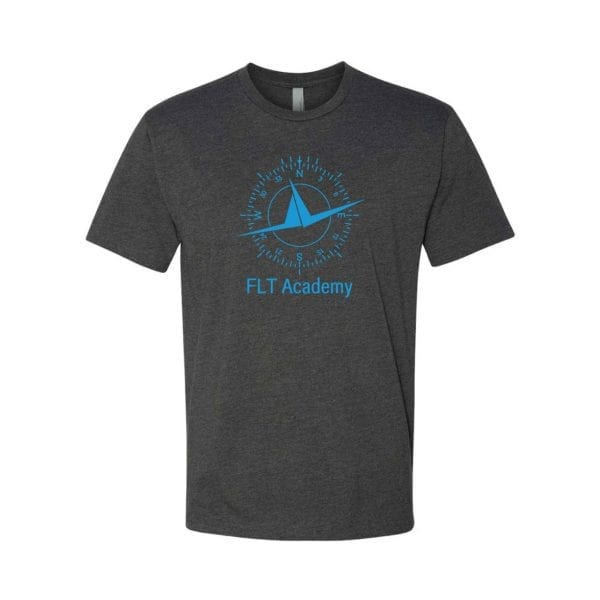 charcoal FLT shirt with compass