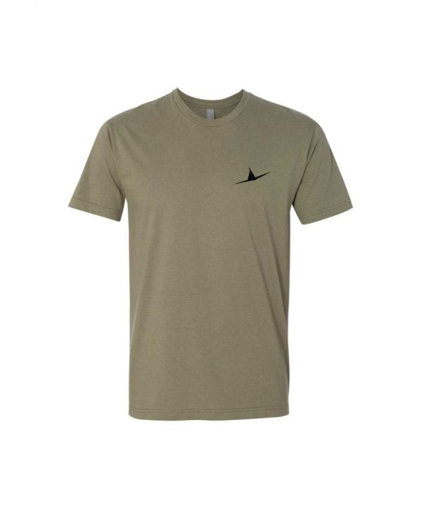olive FLT shirt with wings on front