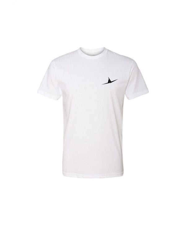 white FLT shirt with wings on front