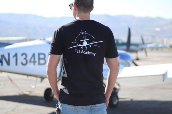 black FLT shirt with plane on back